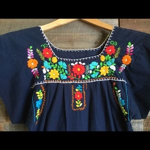 Dresses & Skirts - Traditional Mexican Embroidered Blue Tunic Dress